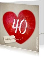 40 jaar huwelijk hart - uitnodiging