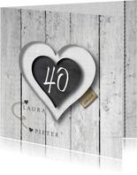 40 jarig huwelijks jubileumkaart - uitnodiging krijt hart