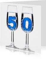 50 in champagne glazen