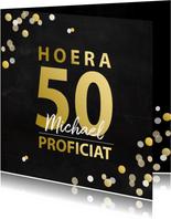 Verjaardag 50 goudlook met confetti