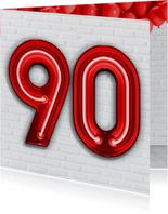 Verjaardagskaarten - 90 jaar in stoere industriële neon cijfers