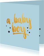 A baby boy gold geboortekaart