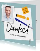 Abschiedskarte Kollege 'Danke' mit Foto, Stiften & Zettel