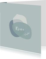 Abstract geboortekaartje voor een jongen in blauwe kleuren