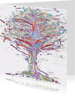 Abstracte boom in onstuimig weer