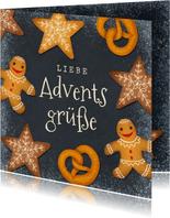 Adventsgrußkarte mit Weihnachtsgebäck