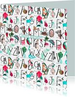 Alfabet verjaardagskaart blauw wit dieren en letters