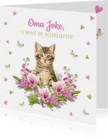 Allerliefste oma kaart met kitten, hartjes en vlinders