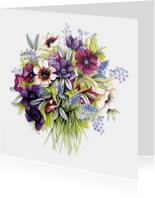 anemonen boeket in aquarel