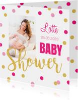 Babyshower uitnodiging foto gouden confetti