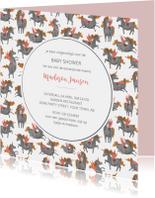 Babyshower unicorn patroon uitnodiging
