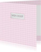 Bar creatief - mijn doop roze ruitjes