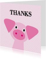 Bedank kaartje met een varkentje