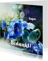 Bedankkaart blauwe bloemen - SG