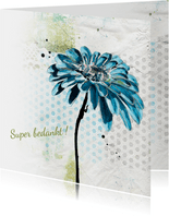Bedankkaart bloem patroon achtergrond