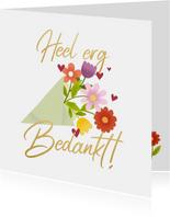 Bedankkaart bos bloemen Heel erg bedankt
