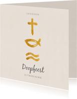 Bedankkaart christelijke symbolen voor doopfeest