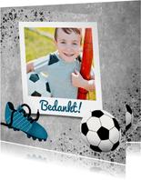 Bedankkaart eerste communie met voetbal, beton en foto
