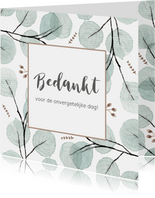 Bedankkaart eucaplyptus, aanpasbare tekst