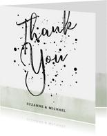 Bedankkaart groene waterverf, typografie en spetters