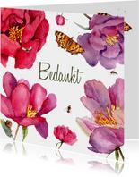 Bedankkaart Grote fleurige bloemen