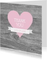 Bedankkaart hart houtlook