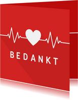 Bedankkaart hulpverleners hart met hartritme