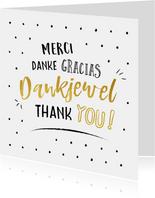 Bedankkaart met bedankt is verschillende talen