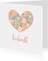 Bedankkaart met bloemenhart