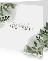 Bedankkaart met botanische print, waterverf en spetters