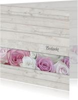 Bedankkaart met rozen - hout