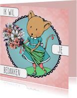Bedankkaart muis bloemen - IH