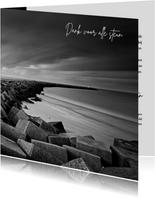 Bedankkaart na overlijden met foto van havenhoofd