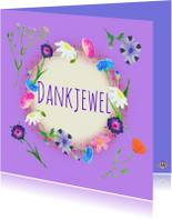 Bedankkaart paarse bloemen PA