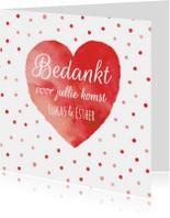 Bedankkaart rood hart confetti