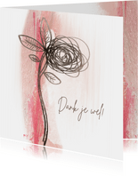Bedankkaart sketch bloem op roze