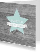 Bedankkaart ster houtlook