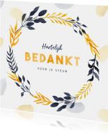 Bedankkaart stijlvol geel en blauw met blaadjes en verf