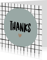 "Bedankkaart ""Thanks"" grid"