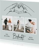 Bedankkaart trouwen bruiloft pastel stijlvol lijntekening