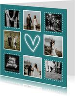 Bedankkaart trouwen hip met fotocollage en neon hartje