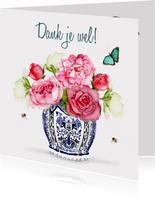 Bedankkaart Vaas met bloemen