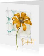 Bedankkaart vierkant gele bloem