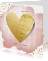 Bedankkaart vrouw hart van goud met spetters en waterverf