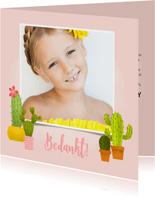 Bedankkaartje eerste communie met cactussen en foto
