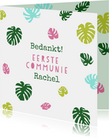 Bedankkaartje eerste communie met gekleurde bladeren