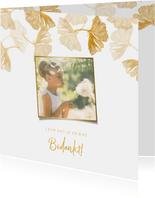 Bedankkaartje ginkgo blad stempel en foto