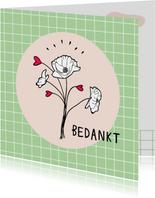 Bedankkaartje met illustratie bosje bloemen