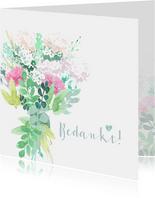Bedankkaartje met pastel bloemen en duifjes