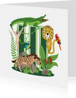 Bedankkaartje met stoere jungledieren die hi zeggen